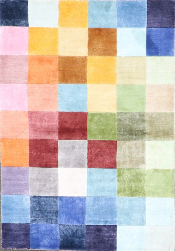 """3'2""""x4'9"""" Contemporary Multi-Colored Silk Hand-Knotted Rug - Direct Rug Import 
