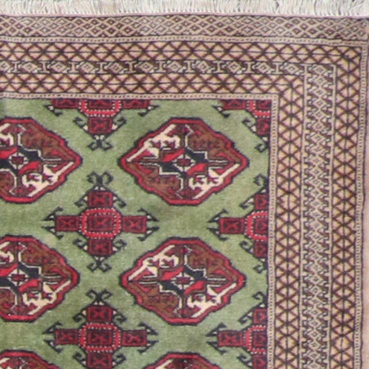 """4'4""""x6'1"""" Decorative Persian Bokhara Green Wool Hand-Knotted Rug - Direct Rug Import   Rugs in Chicago, Indiana,South Bend,Granger"""