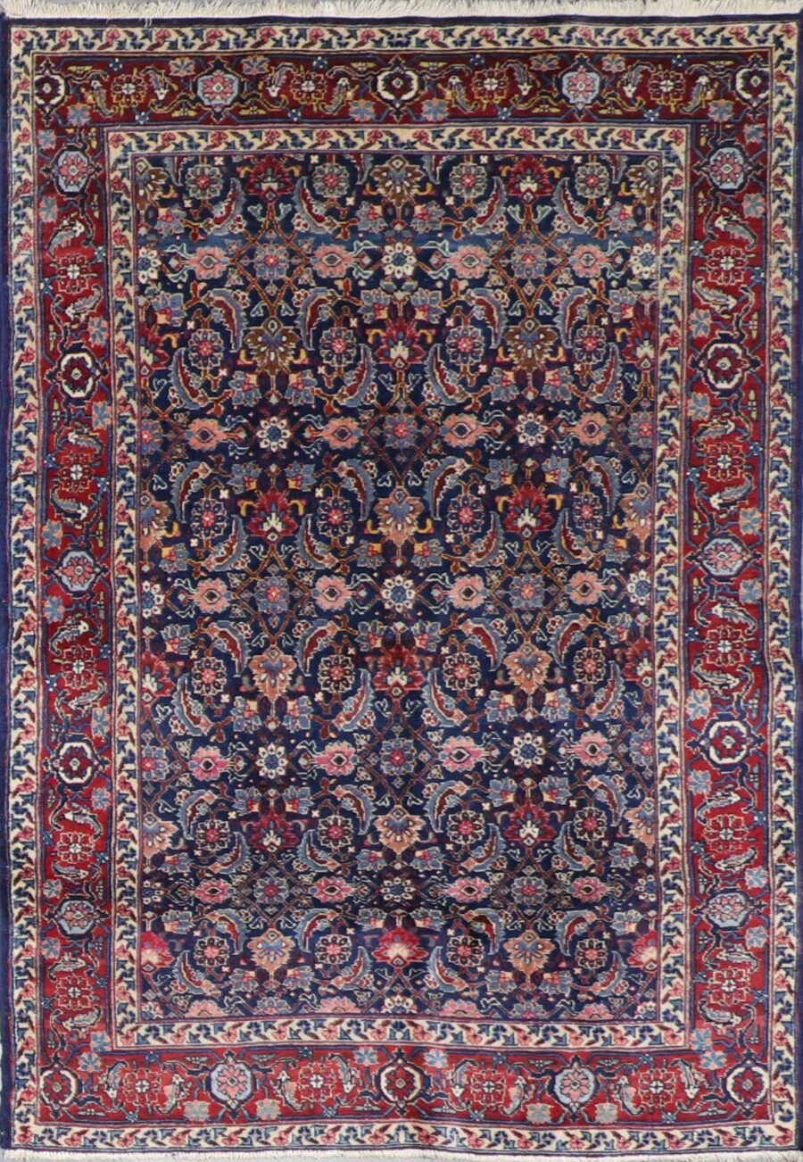 """4'6""""x6'3"""" Antique Farahan Navy Tribal Wool Hand-Knotted Rug - Direct Rug Import 