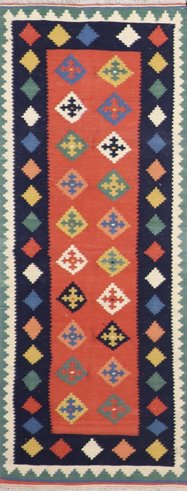 """2'5""""x6'4"""" Persian Kilim Red Runner Wool Hand-Knotted - Direct Rug Import   Rugs in Chicago, Indiana,South Bend,Granger"""