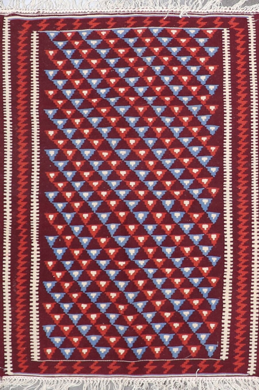 """3'5""""x4'8"""" Decorative Burgundy Wool Hand-Knotted Rug - Direct Rug Import   Rugs in Chicago, Indiana,South Bend,Granger"""