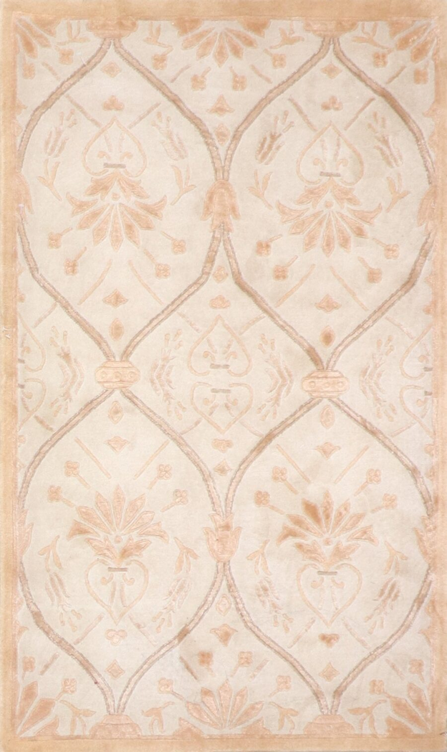 """3'x5'1"""" Transitional Gold and Tan Overall Wool & Silk Hand-Knotted Rug - Direct Rug Import 