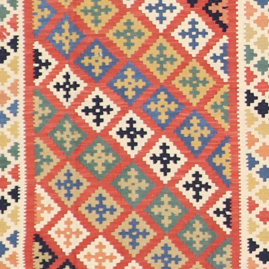 """3'5""""x4'11"""" Persian Kilim Multi-Colored Wool Hand-Knotted Rug - Direct Rug Import 