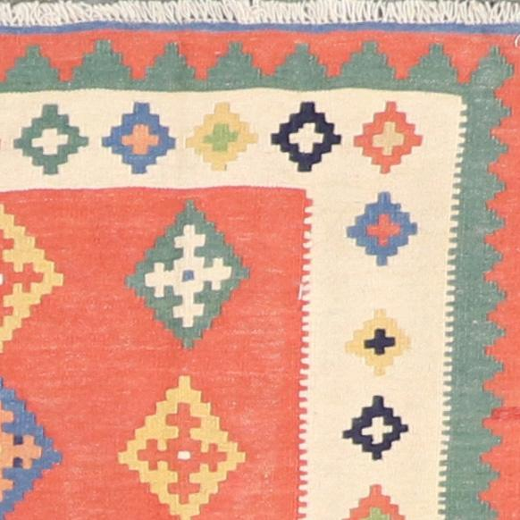 """3'3""""x4'9"""" Persian Kilim Orange-Red Wool Hand-Knotted Rug - Direct Rug Import   Rugs in Chicago, Indiana,South Bend,Granger"""