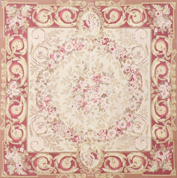 """5'x5'2"""" Traditional Ivory Wool Hand-Knotted Rug - Direct Rug Import   Rugs in Chicago, Indiana,South Bend,Granger"""