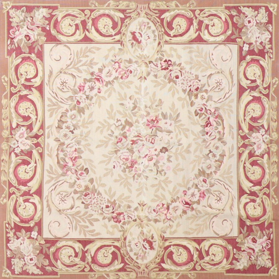 """5'x5'2"""" Traditional Ivory Wool Hand-Knotted Rug - Direct Rug Import 