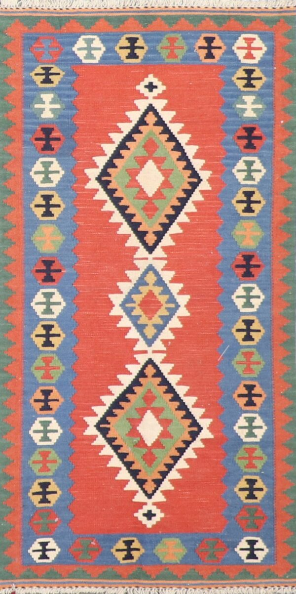"""2'6""""x4'1"""" Persian Kilim Red Wool Hand-Knotted Rug - Direct Rug Import 