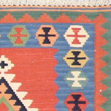 """2'6""""x4'1"""" Persian Kilim Red Wool Hand-Knotted Rug - Direct Rug Import   Rugs in Chicago, Indiana,South Bend,Granger"""