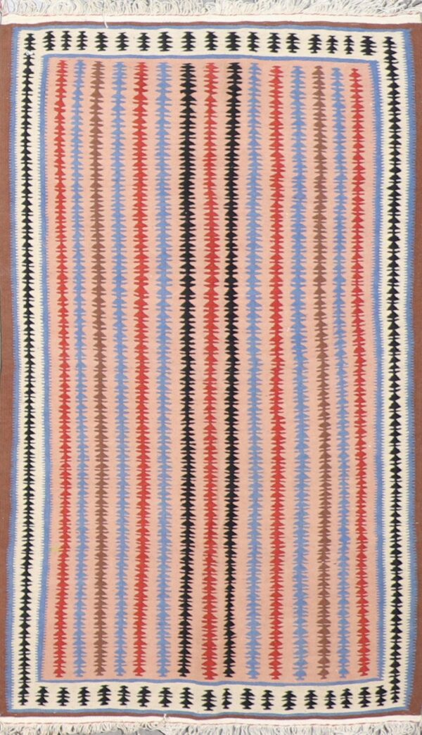 """3'2""""x5'1"""" Persian Kilim Taupe Wool Hand-Knotted Rug - Direct Rug Import   Rugs in Chicago, Indiana,South Bend,Granger"""
