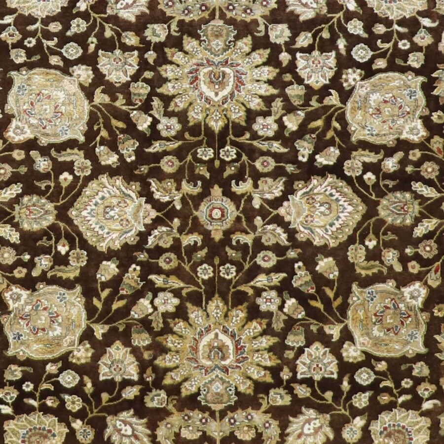 """5'6""""x8'9"""" Traditional Brown Silk Hand-Knotted Rug - Direct Rug Import 