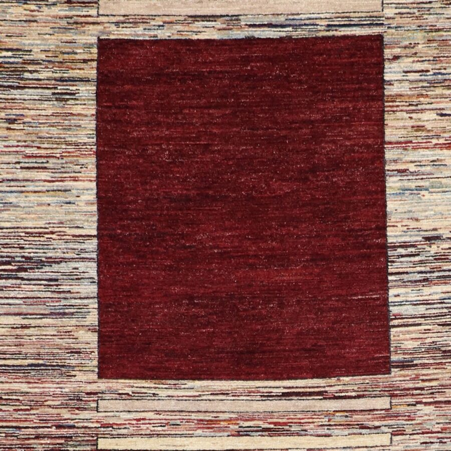"""5'7""""x8'4"""" Contemporary Burgundy Wool Hand-Knotted Rug - Direct Rug Import   Rugs in Chicago, Indiana,South Bend,Granger"""