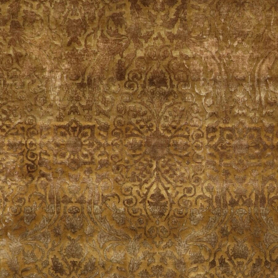 """5'11""""x8'7"""" Transitional Classic Brown Gold Wool & Silk Hand-Knotted Rug - Direct Rug Import 