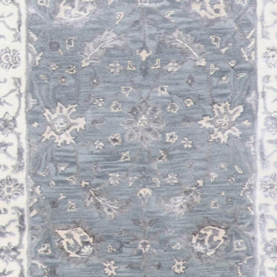 """2'10""""x10' Decorative Vintage Gray Wool & Silk Rug - Direct Rug Import   Rugs in Chicago, Indiana,South Bend,Granger"""