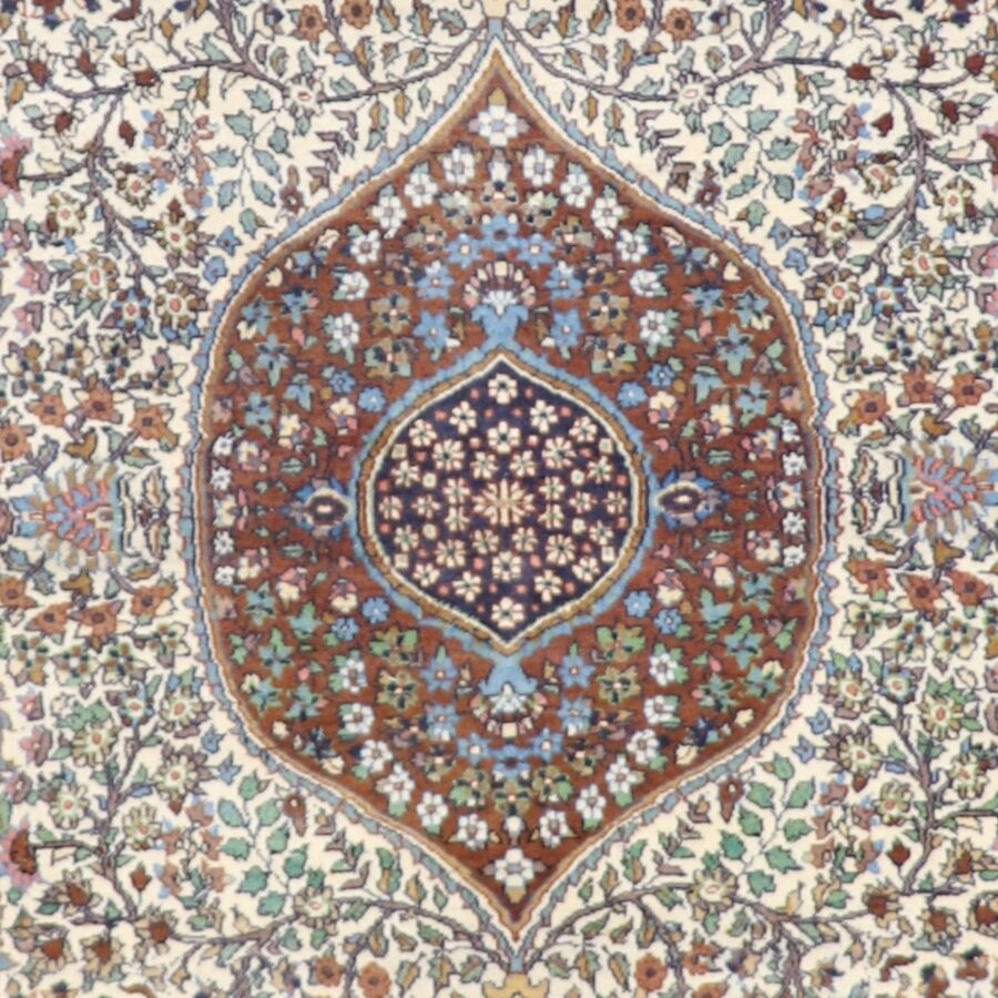 """4'7""""x7' Traditional Isfahan Persian Design Brown Wool Hand-Knotted Rug - Direct Rug Import   Rugs in Chicago, Indiana,South Bend,Granger"""