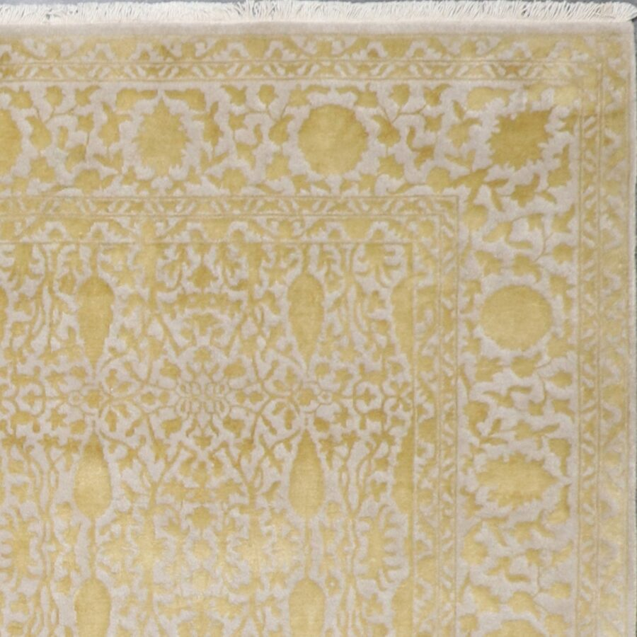 """6'1""""x9'7"""" Transitional classic Gold Wool & Silk Hand-Knotted Rug - Direct Rug Import 