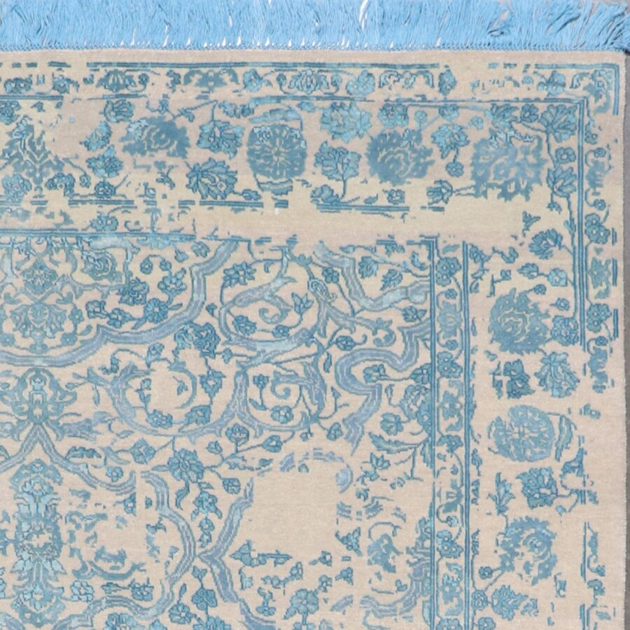"""6'1""""x8'9"""" Traditional Blue Wool & Silk Hand-Knotted Rug - Direct Rug Import 