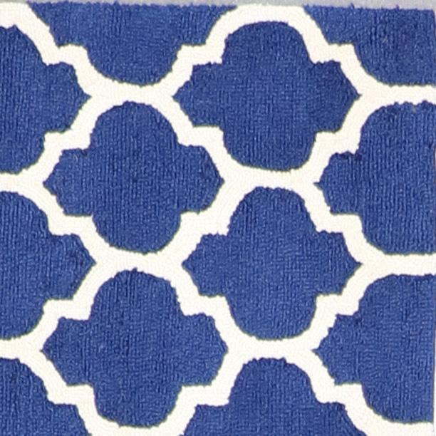 """3'7""""x5'5"""" Contemporary Blue Wool Hand-Tufted Rug - Direct Rug Import 