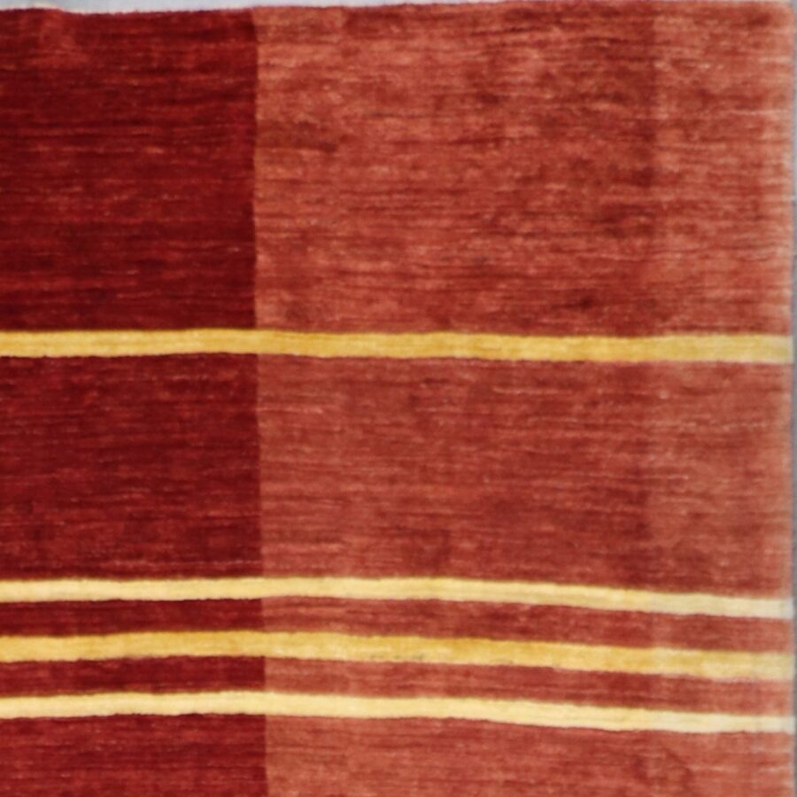 """6'8""""x8'9"""" Contemporary Red Wool Hand-Knotted Rug - Direct Rug Import 