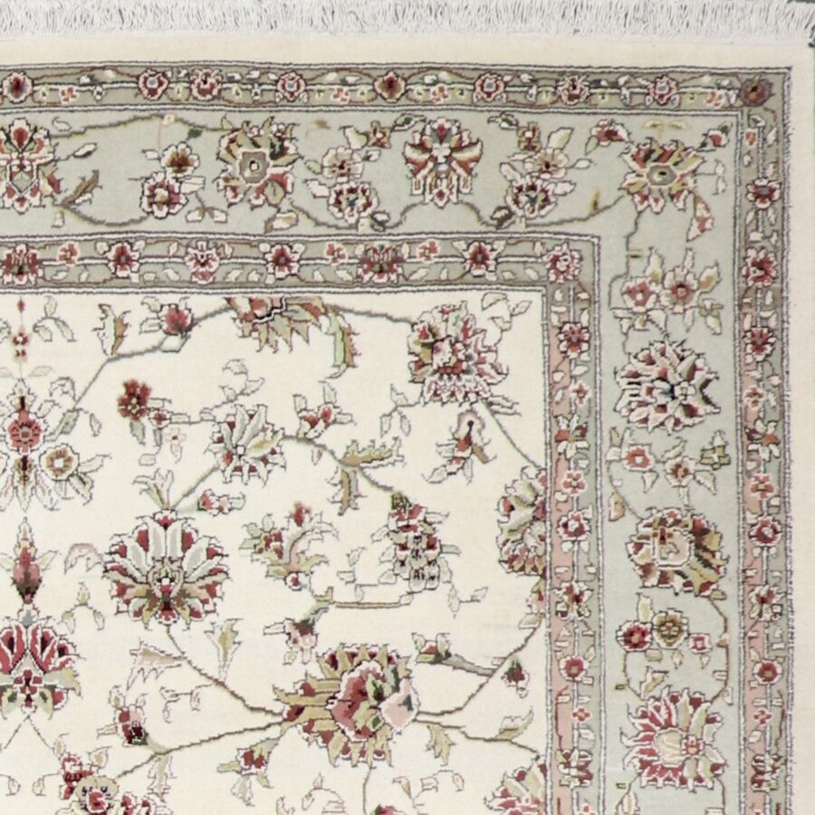 """6'1""""x8'8"""" Traditional Ivory Tabriz Wool & Silk Hand-Knotted Rug - Direct Rug Import   Rugs in Chicago, Indiana,South Bend,Granger"""