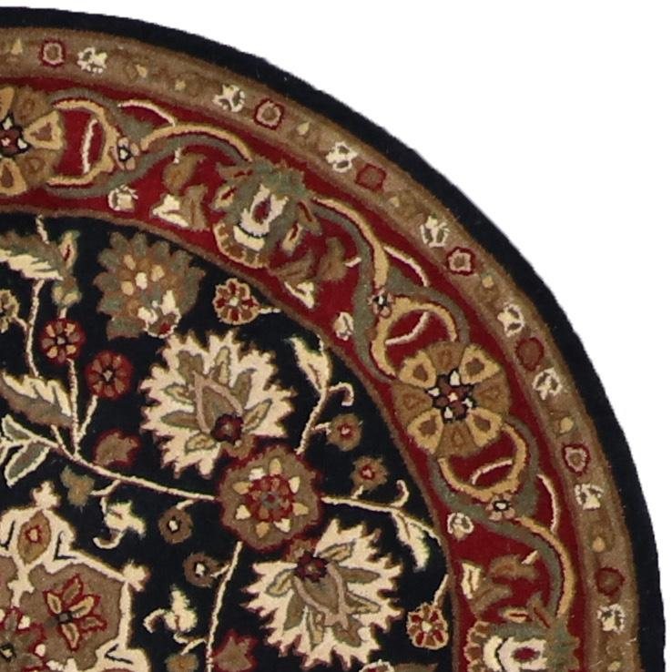 4'x4' Traditional Round Black Wool Rug - Direct Rug Import   Rugs in Chicago, Indiana,South Bend,Granger