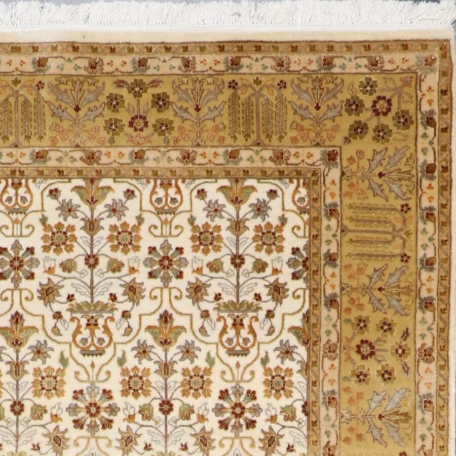 """5'7""""x8'4"""" Decorative Ivory Bejar Wool & Silk Hand-Knotted Rug - Direct Rug Import   Rugs in Chicago, Indiana,South Bend,Granger"""