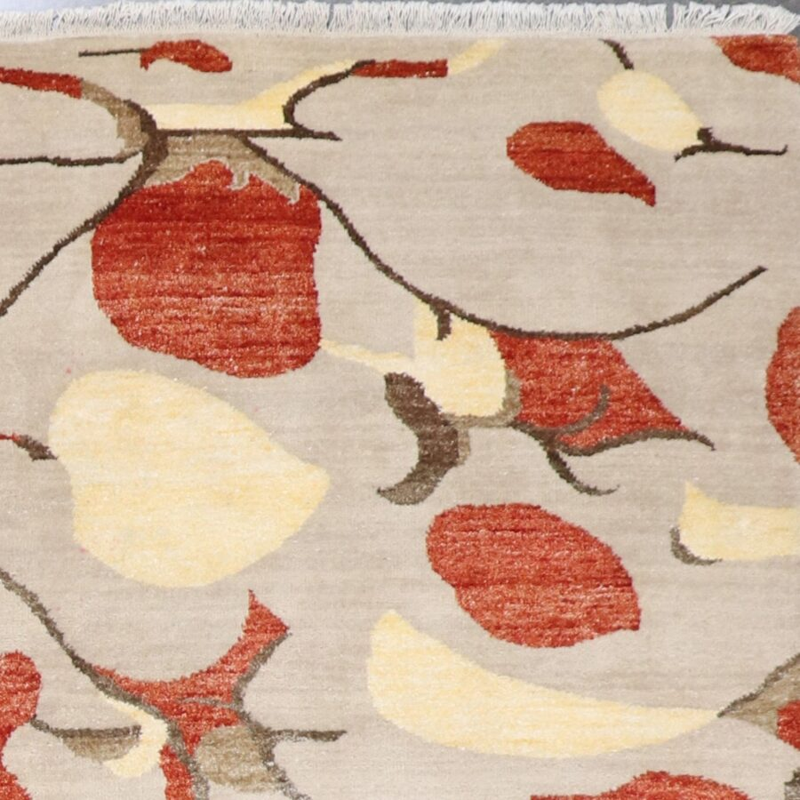 """5'10""""x8'9"""" Contemporary Beige Wool & Silk Hand-Knotted Rug - Direct Rug Import 