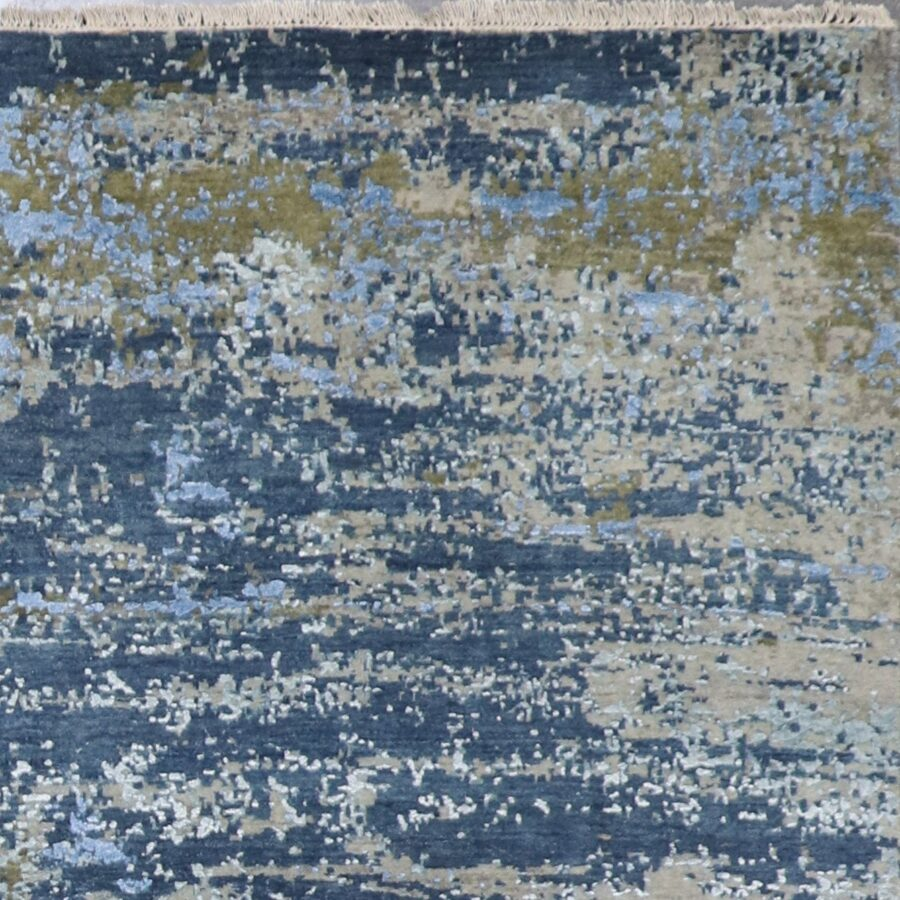 """5'11""""x9' Contemporary Gray Wool & Silk Hand-Knotted Rug - Direct Rug Import 