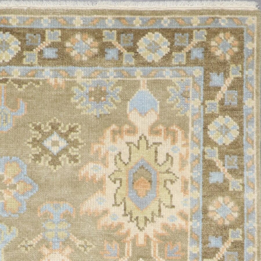 """6'6""""x8'11"""" Decorative Green Oushak Wool Hand-Knotted Rug - Direct Rug Import   Rugs in Chicago, Indiana,South Bend,Granger"""
