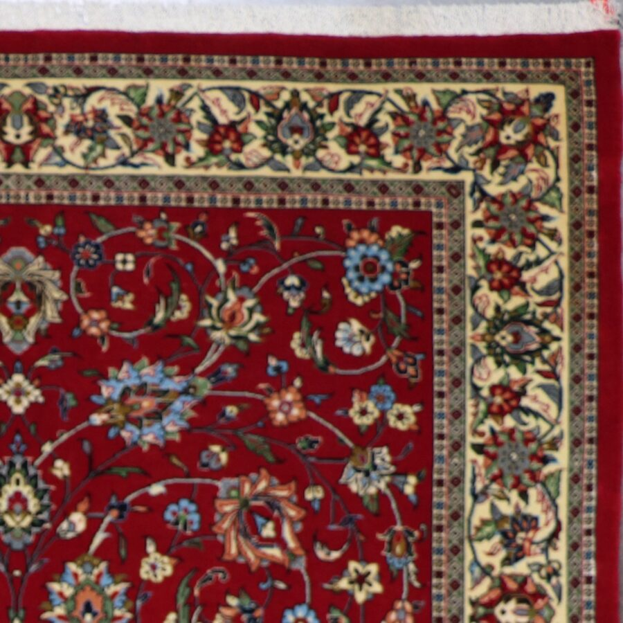 """4'7""""x6'11"""" Traditional Red Tabriz Wool Hand-Knotted Rug - Direct Rug Import 