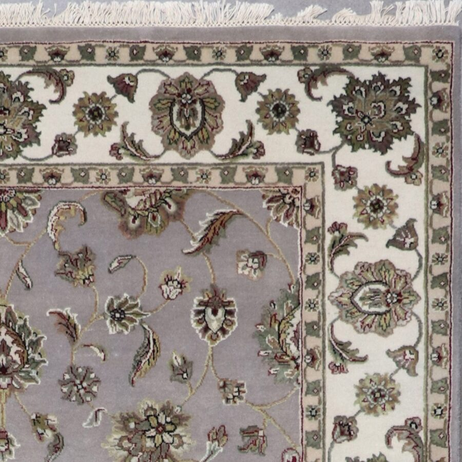 """5'11""""x9' Tranditional Gray Wool & Silk Hand-Knotted Rug - Direct Rug Import 
