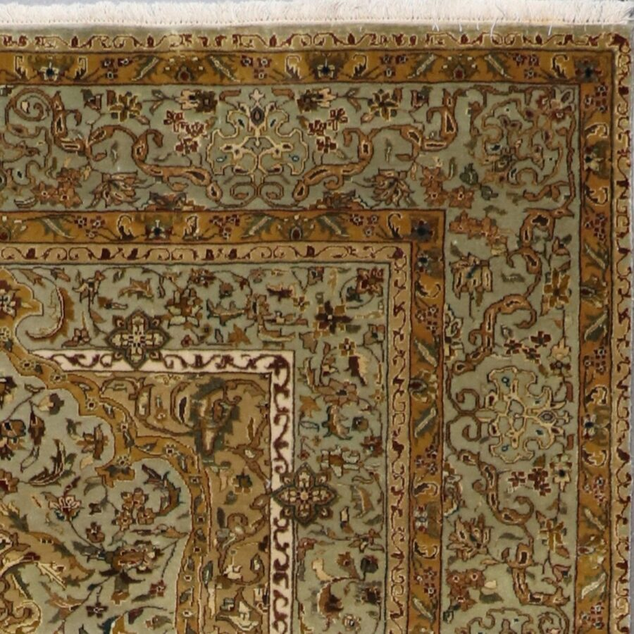 """5'8""""x7'8"""" Traditional Green Tabriz Wool & Silk Hand-Knotted Rug - Direct Rug Import 