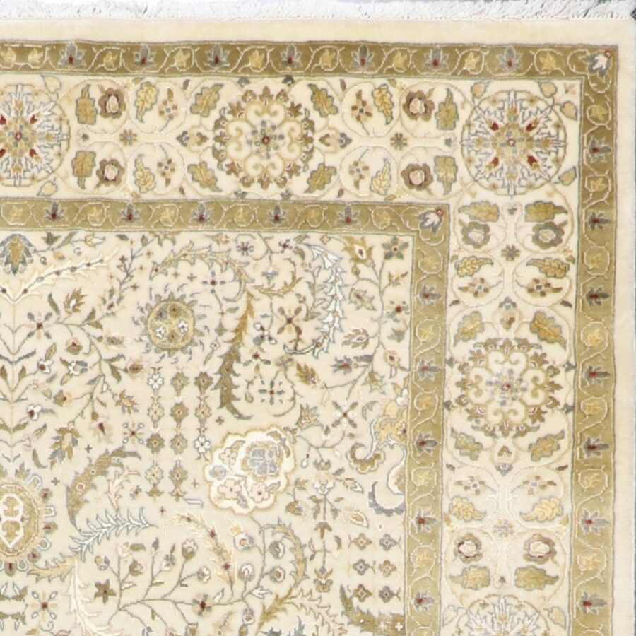 """5'9""""x8'2"""" Traditional Ivory Tabriz Wool & Silk Hand-Knotted Rug - Direct Rug Import 