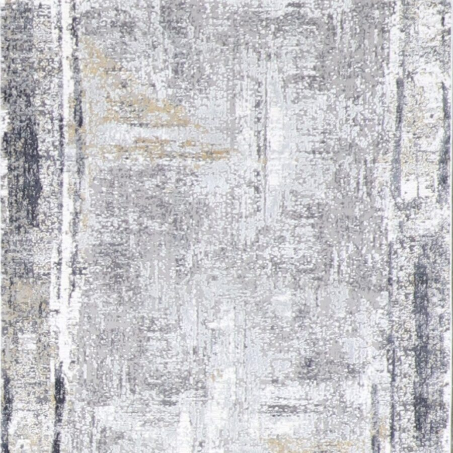 """2'7""""x10' Contemporary Gray Wool & Silk Hand-Finished Rug - Direct Rug Import   Rugs in Chicago, Indiana,South Bend,Granger"""