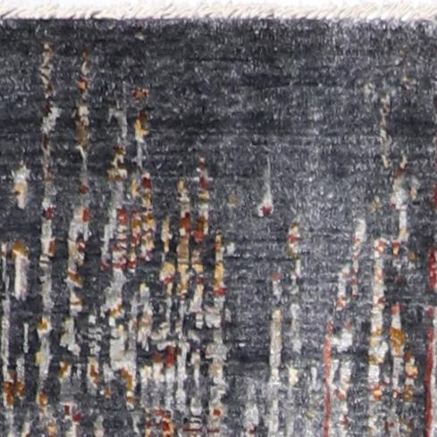 """2'7""""x10' Transitional Gray Wool & Silk Hand-knotted Rug - Direct Rug Import   Rugs in Chicago, Indiana,South Bend,Granger"""