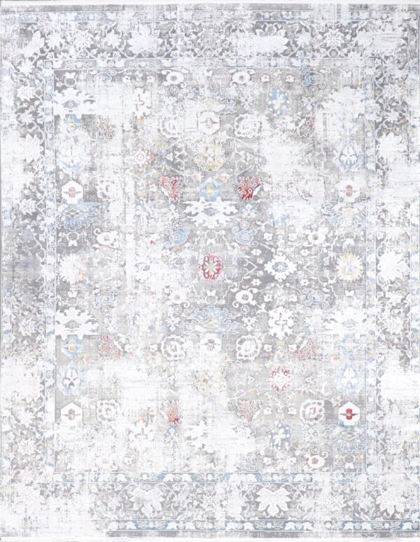 """7'7""""x9'9"""" Transitional Gray Wool & Silk Hand-Finished Rug - Direct Rug Import 