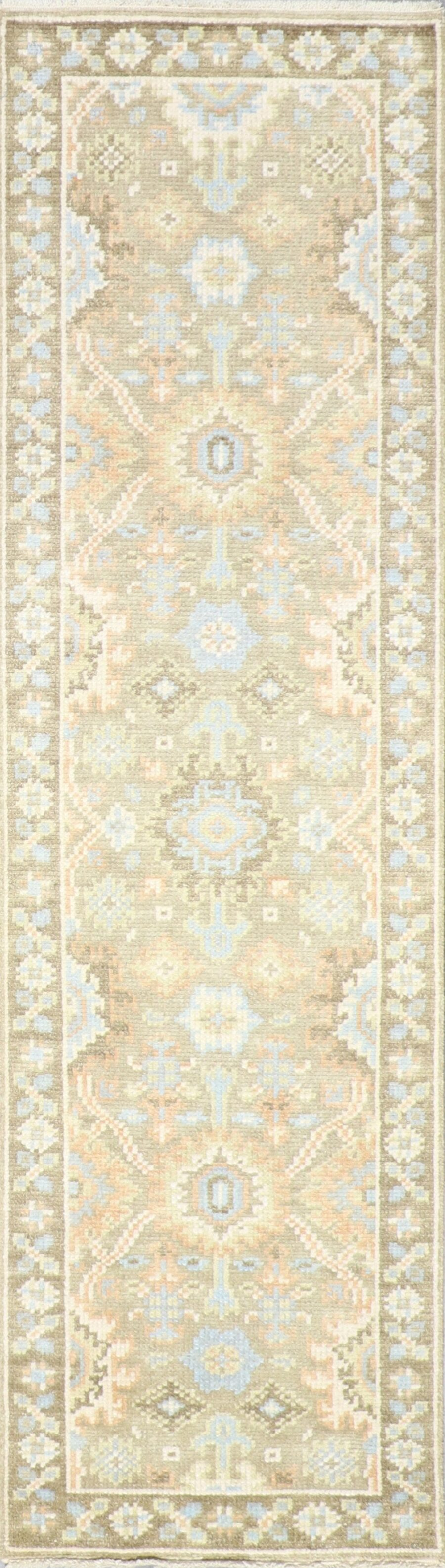 """2'7""""x10' Decorative Green Wool Hand-Knotted Rug - Direct Rug Import   Rugs in Chicago, Indiana,South Bend,Granger"""
