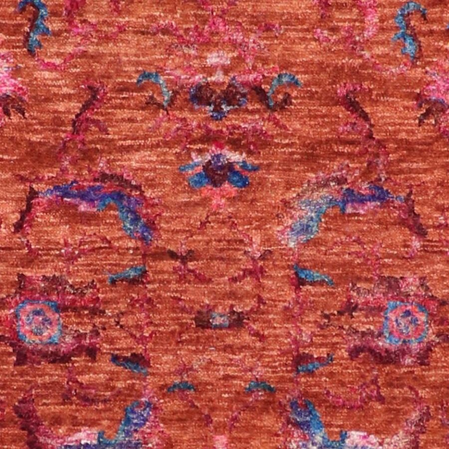 """3'x11'10"""" Contemporary Orange & Blue Wool & Silk Hand-Knotted Rug - Direct Rug Import   Rugs in Chicago, Indiana,South Bend,Granger"""