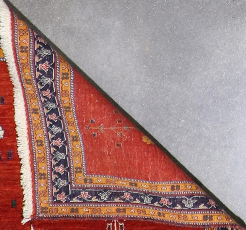 """3'7""""x5'3"""" Traditional Persian Gabbeh Red-Orange Wool Hand-Knotted Rug - Direct Rug Import   Rugs in Chicago, Indiana,South Bend,Granger"""