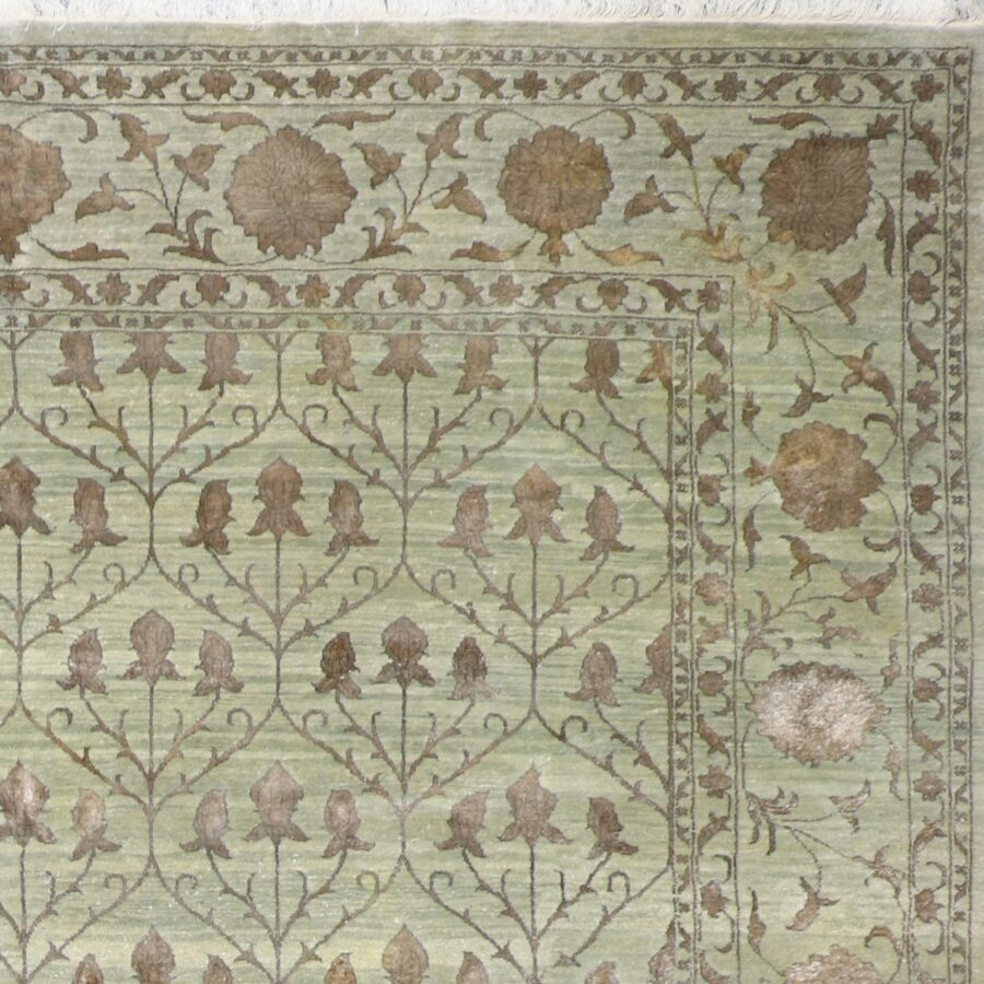"""10'x13'10"""" Decorative Green & Brown Wool & Silk Hand-Knotted Rug - Direct Rug Import   Rugs in Chicago, Indiana,South Bend,Granger"""