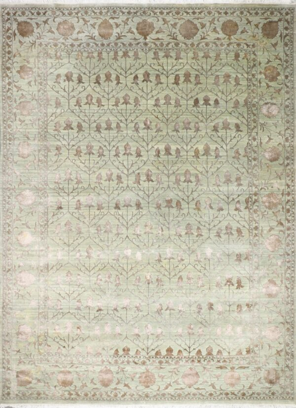 """10'x13'10"""" Decorative Green & Brown Wool & Silk Hand-Knotted Rug - Direct Rug Import 