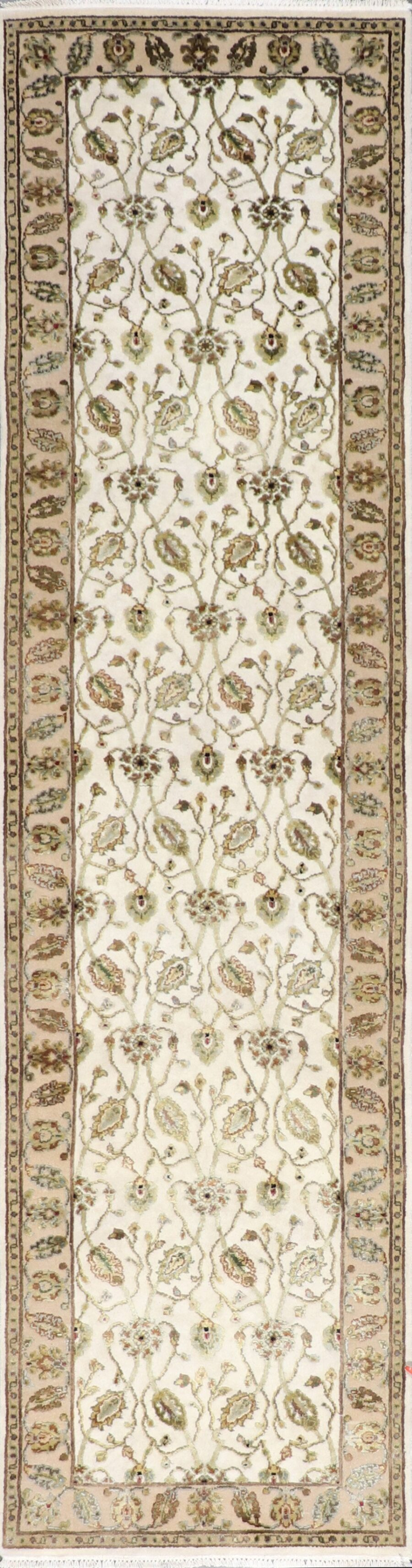 """2'6""""x10'2"""" Traditional Ivory Wool & Silk Hand-Knotted Rug - Direct Rug Import 