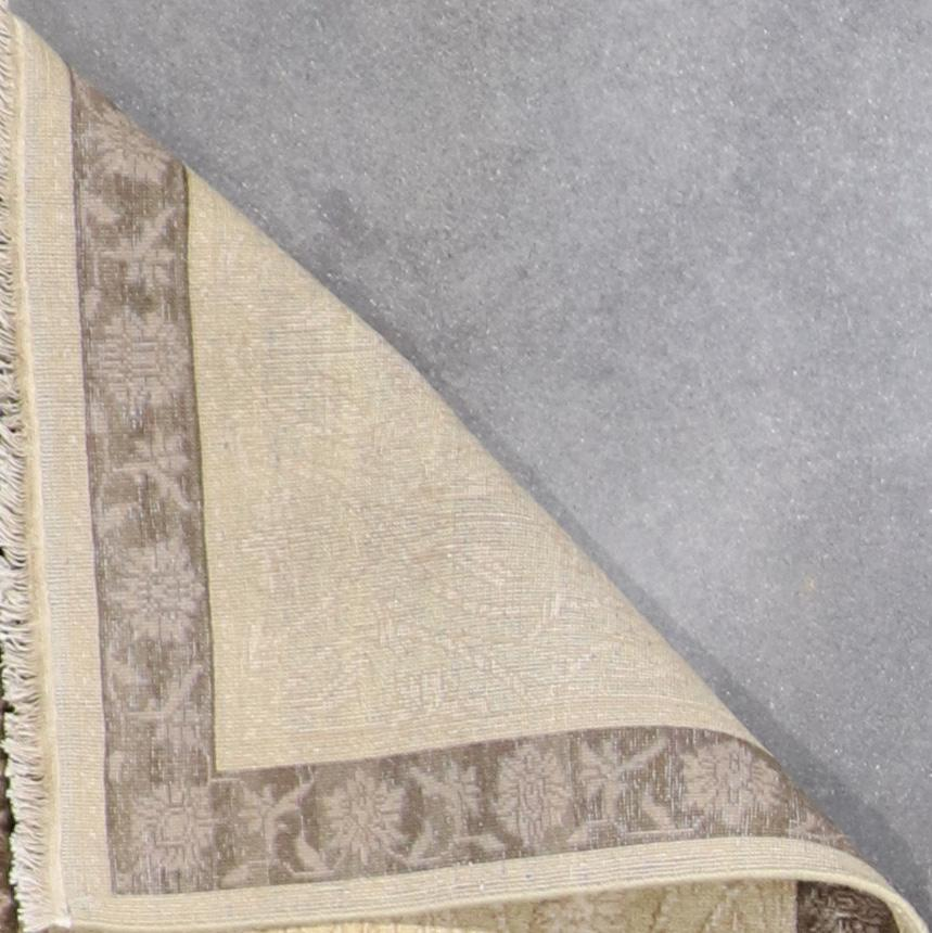 """2'7""""x10' Decorative Tan Wool & Silk Hand-Finished Rug - Direct Rug Import 
