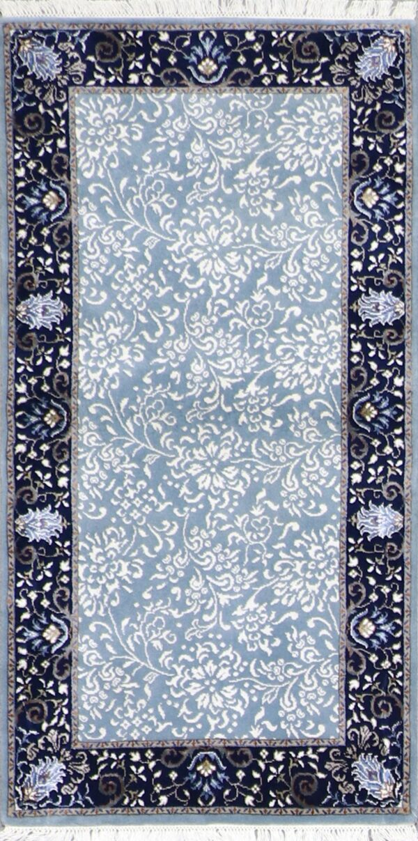"""2'6""""x5'1"""" Decorative Blue & Navy Wool & Silk Hand-Knotted Rug - Direct Rug Import 