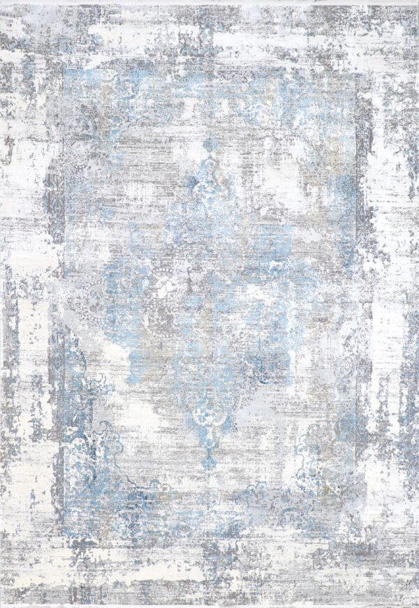 """7'9""""x11' Transitional Gray Wool & Silk Hand-Finished Rug - Direct Rug Import 