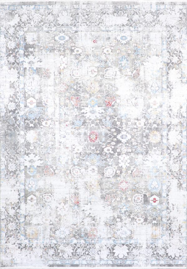 """7'9""""x9'10"""" Transitional Gray Wool & Silk Hand-Finished Rug - Direct Rug Import 