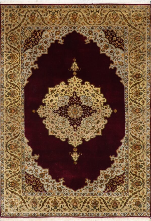 """5'6""""x8'1"""" Classic Traditional Tabriz Burgundy Wool Hand-Knotted Rug - Direct Rug Import 