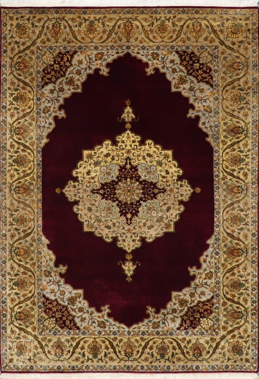 """5'6""""x8'1"""" Classic Traditional Tabriz Burgundy Wool Hand-Knotted Rug - Direct Rug Import   Rugs in Chicago, Indiana,South Bend,Granger"""