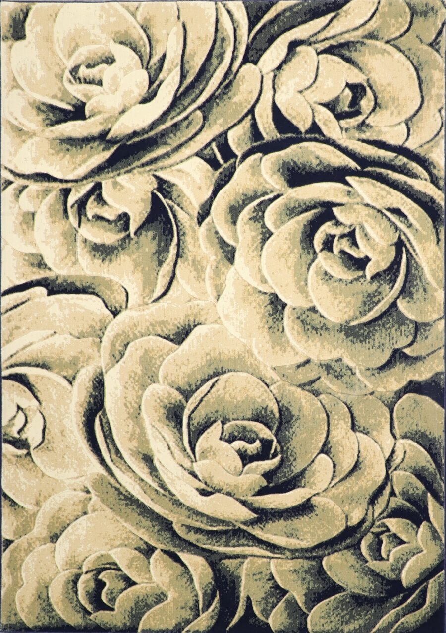 """6'7""""x9'6"""" Decorative Ivory & Navy Hand-Finished Rug - Direct Rug Import   Rugs in Chicago, Indiana,South Bend,Granger"""