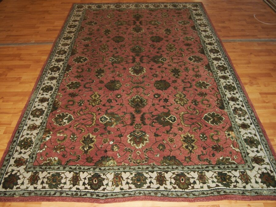 5'11'' X 8'11'' Overall Traditional Persian Tabriz Beige Rectangular Wool & Silk Rug - Direct Rug Import   Rugs in Chicago, Indiana,South Bend,Granger
