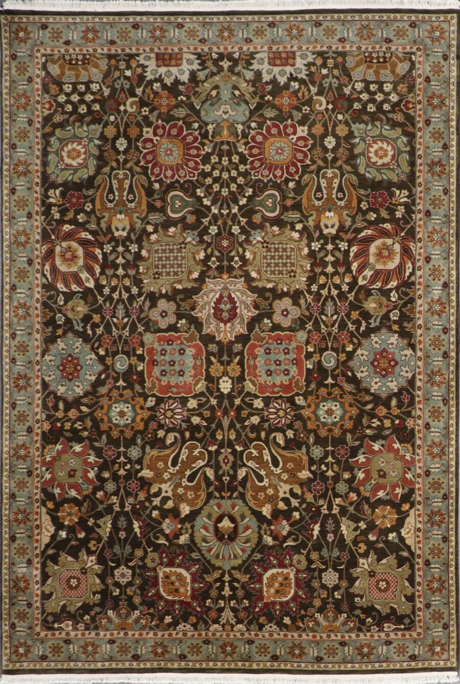 """6'1""""x8'10"""" Decorative Green Kashan Wool Hand-Knotted Rug - Direct Rug Import 